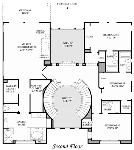 Toll brothers at stonebridge luxury new homes in san diego ca - Bed room house plan with stairs ...