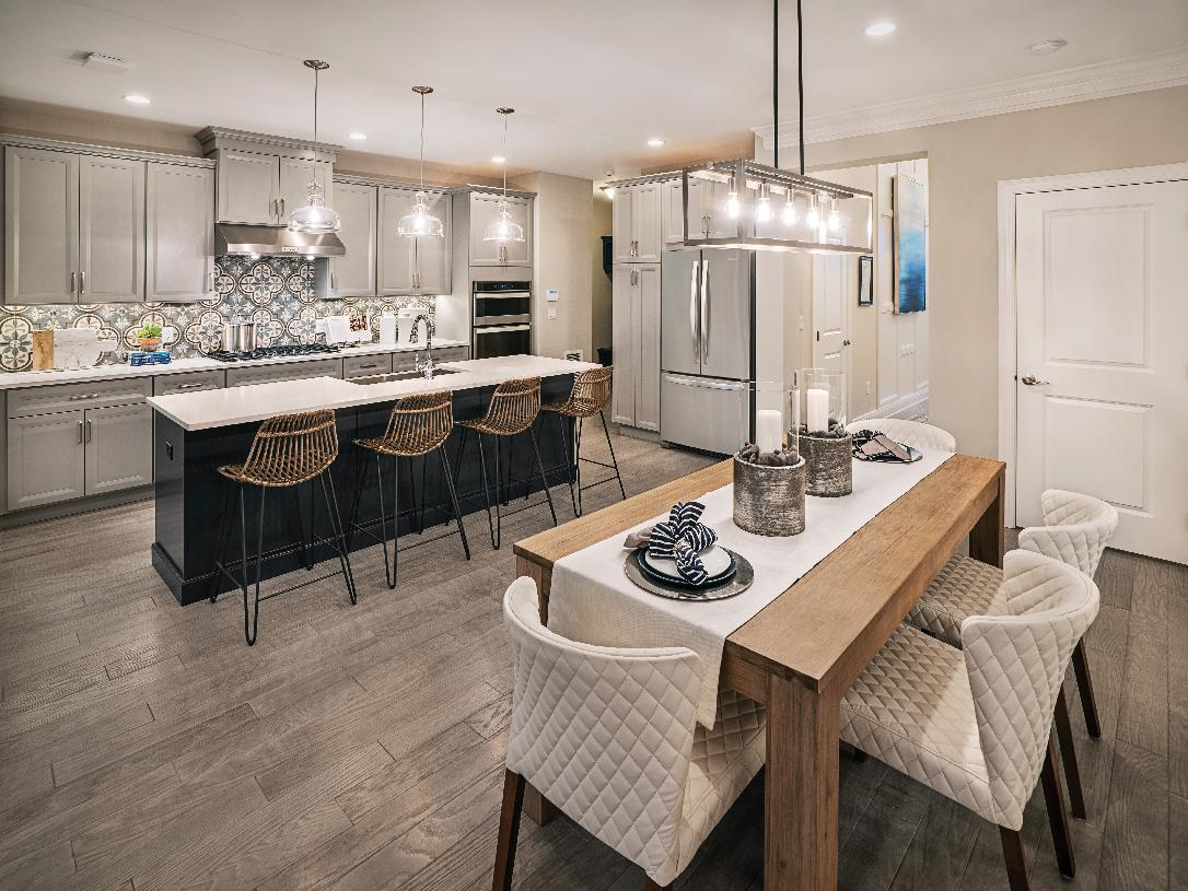 Kitchen with center island open to large dining area