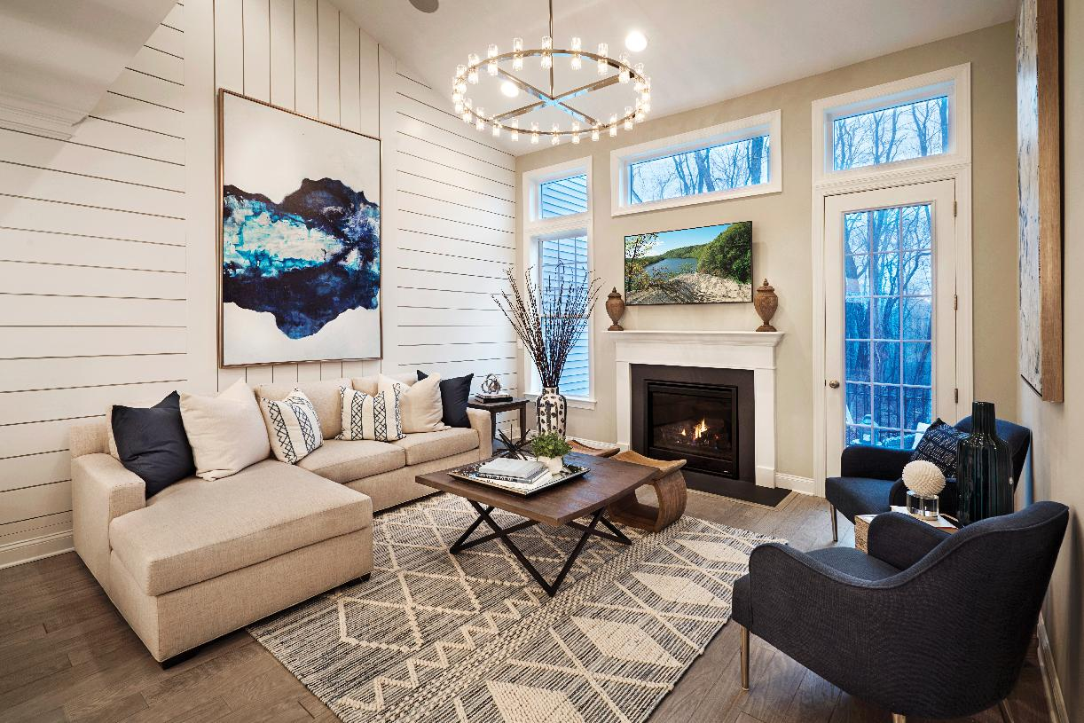 Dramatic living room with fireplace