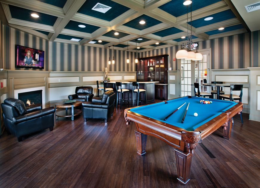 Tavern Room with Billiards and Accented by a Corner Fireplace