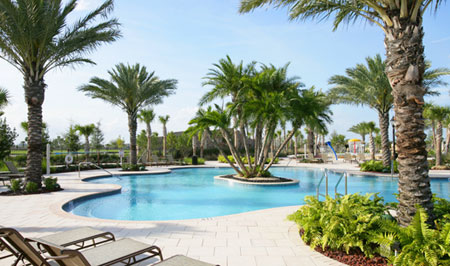 Inspired by five-star resort layouts, Parkland features two separate pools in a lush vegetative setting, private cabanas, and naturalistic water features