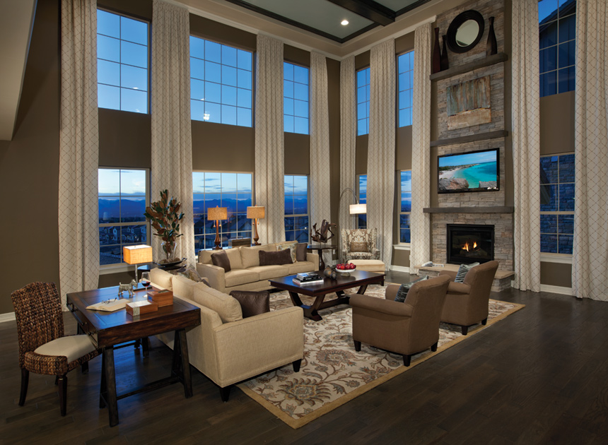 Toll brothers at backcountry luxury new homes in for Two story living room house plans