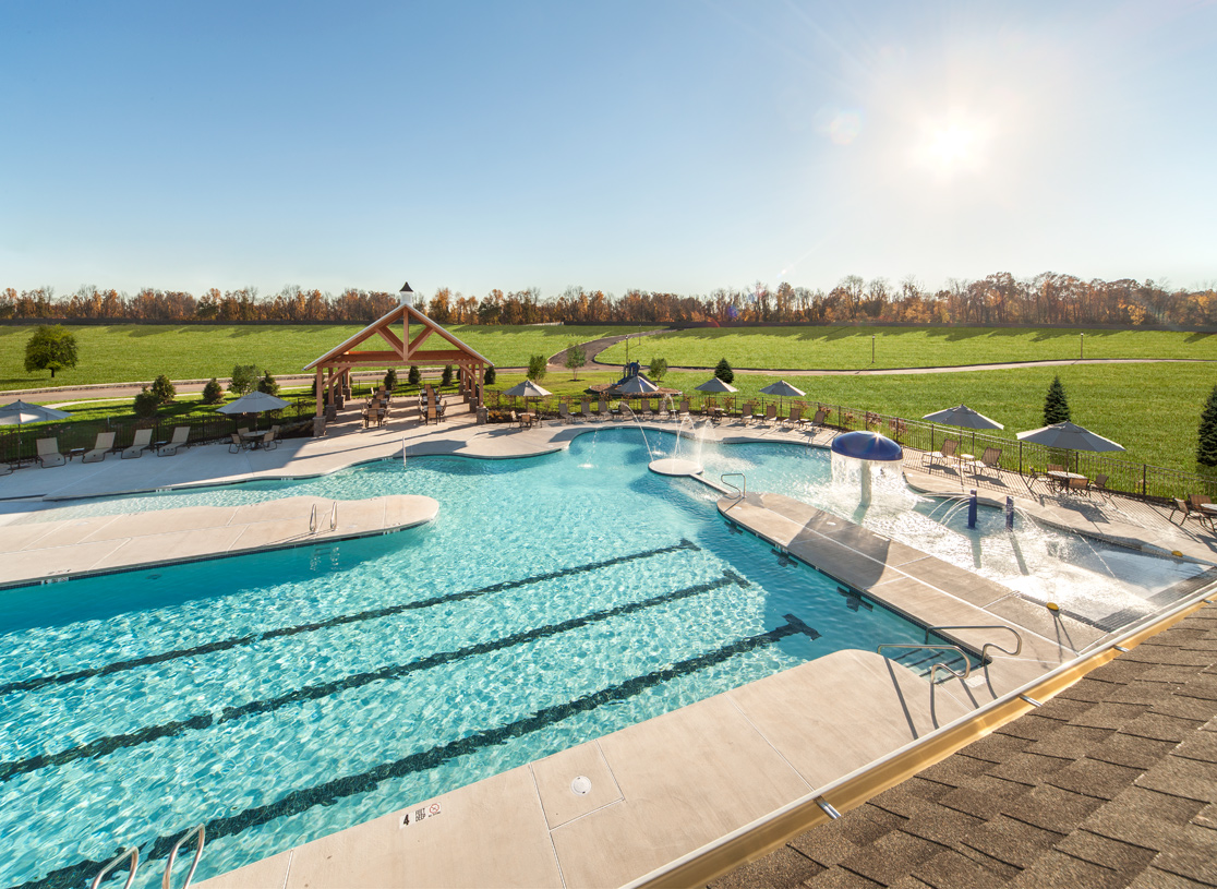 Outdoor swimming pool at the community clubhouse
