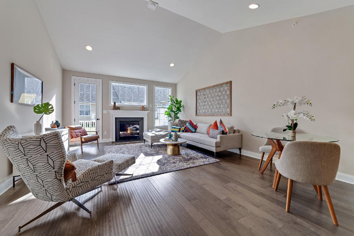 Bright and airy great room with cathedral ceiling