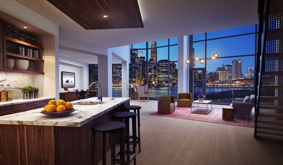 Condos for sale in brooklyn pierhouse at brooklyn bridge for Living room brooklyn