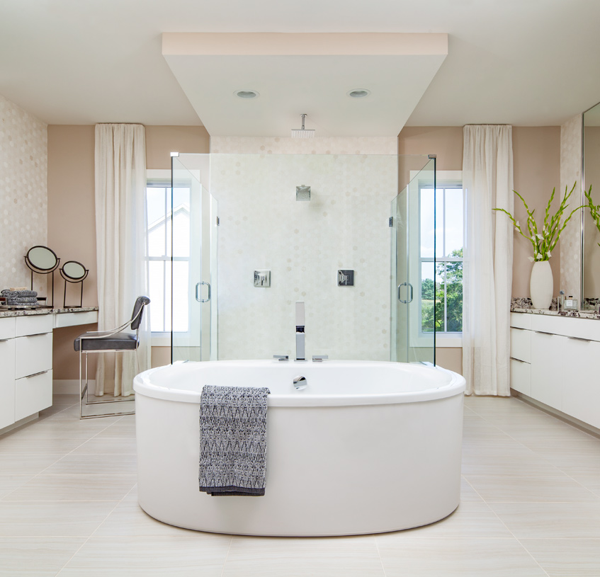 Primary bathroom with free-standing tub