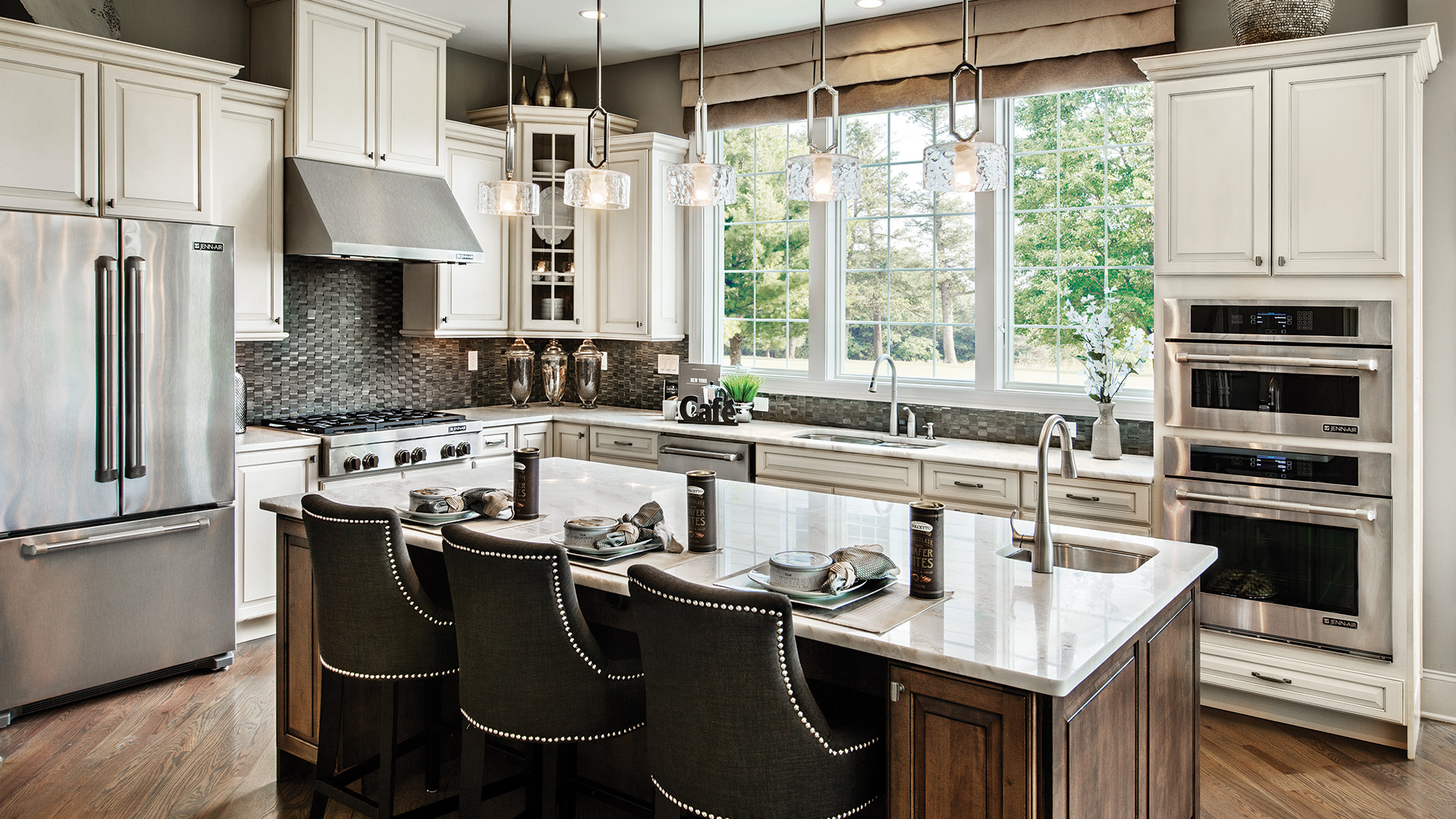 The Pine Ridge kitchen with luxurious finishes and high-end appliances.