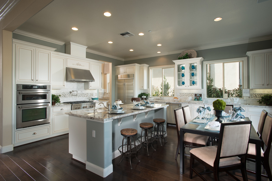 The superb kitchen with generous center island double oven and
