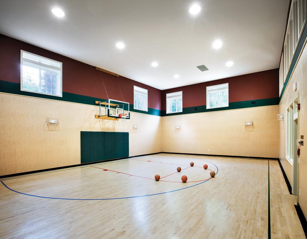 Indoor basketball half court