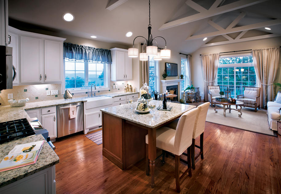 Kitchen opens family room in the bethel home design for Bethel kitchen designs