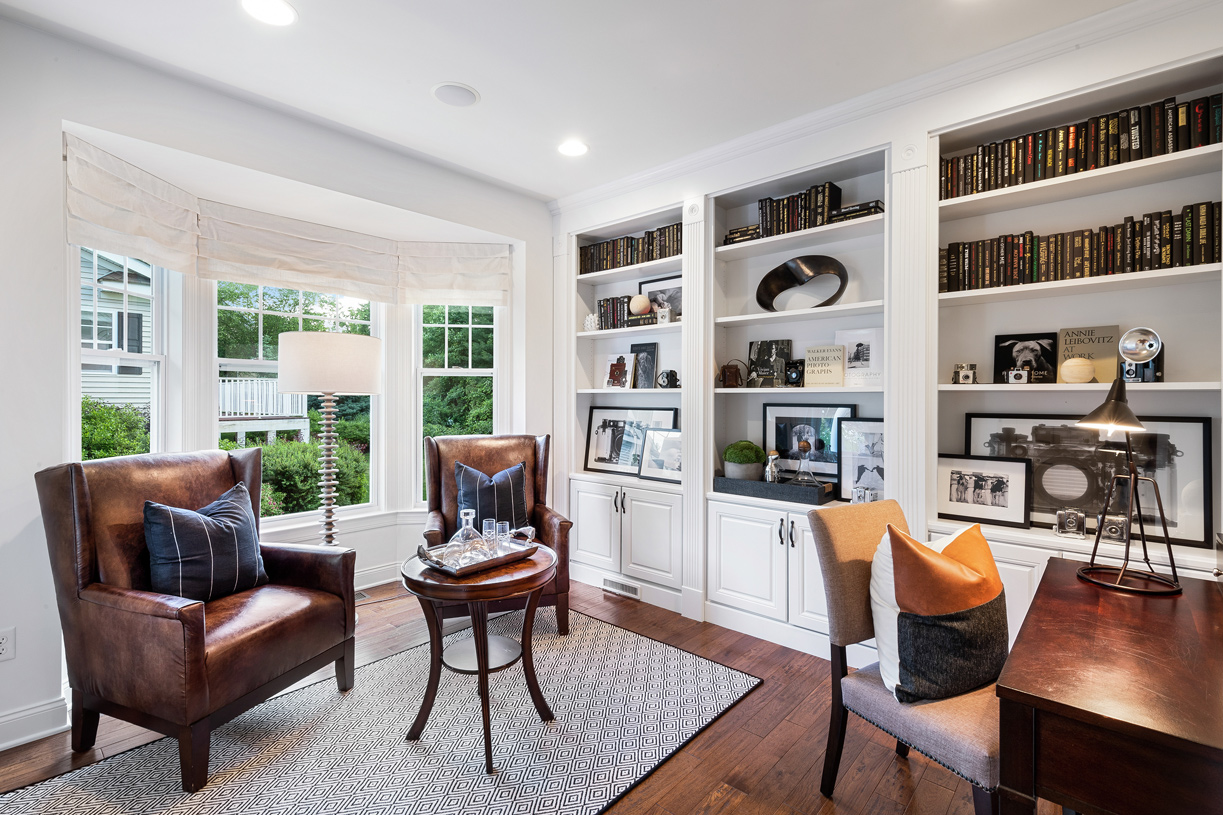 First-floor office with built-In bookcases