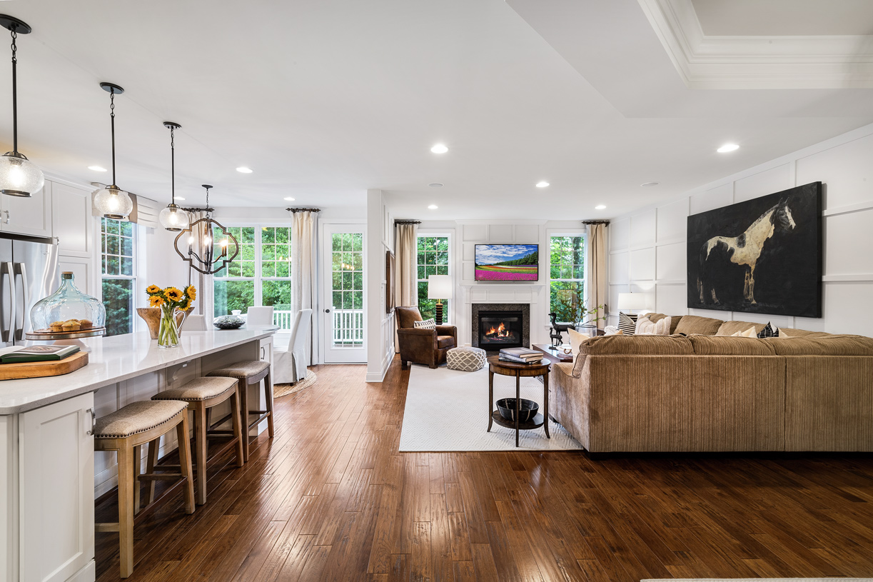 Kitchen opens up to Great Room