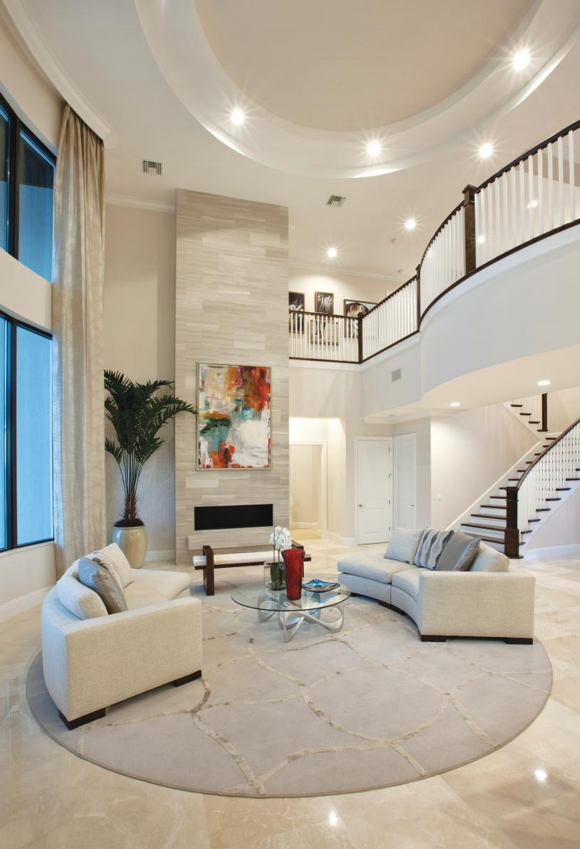 Elegant great rooms with curved staircases