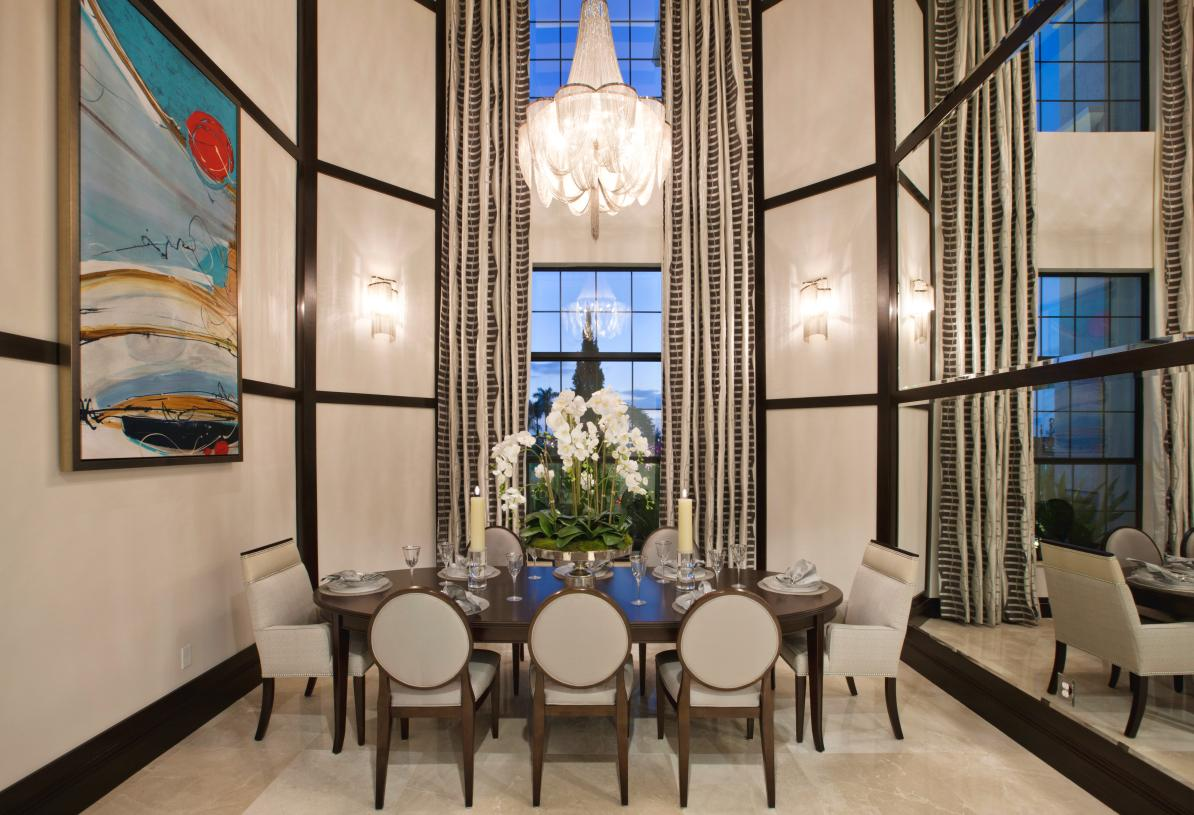 Formal dining rooms with soaring ceilings
