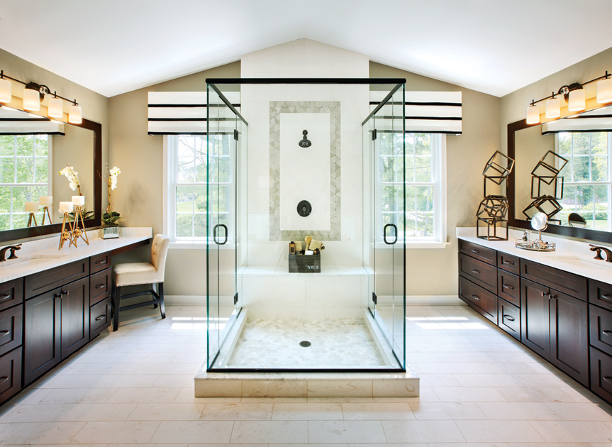 Spectacular master bath with dual sinks.
