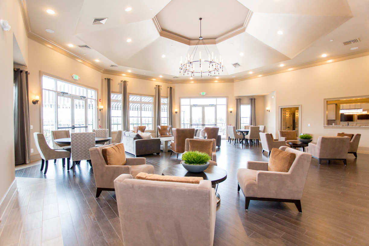 The club room at the clubhouse is the perfect spot to meet up with friends