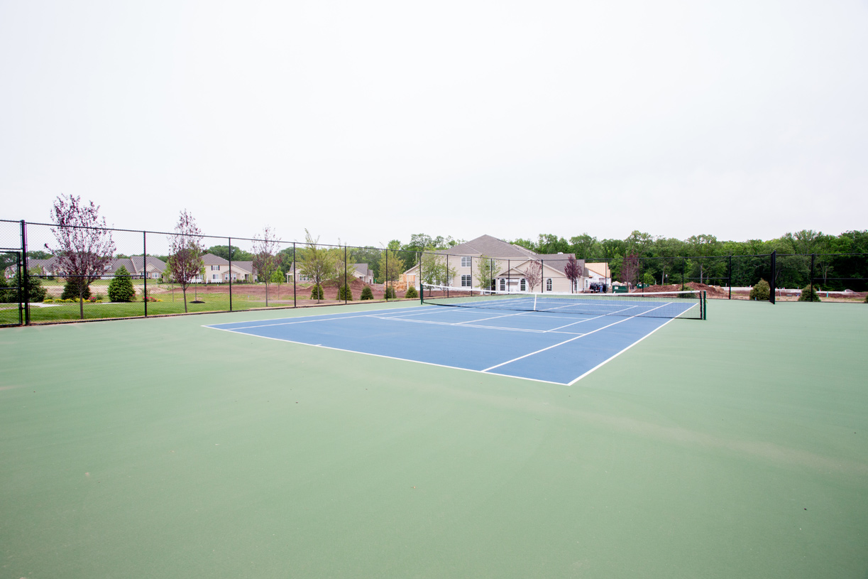 Tennis courts and pickleball courts are available for residents to use