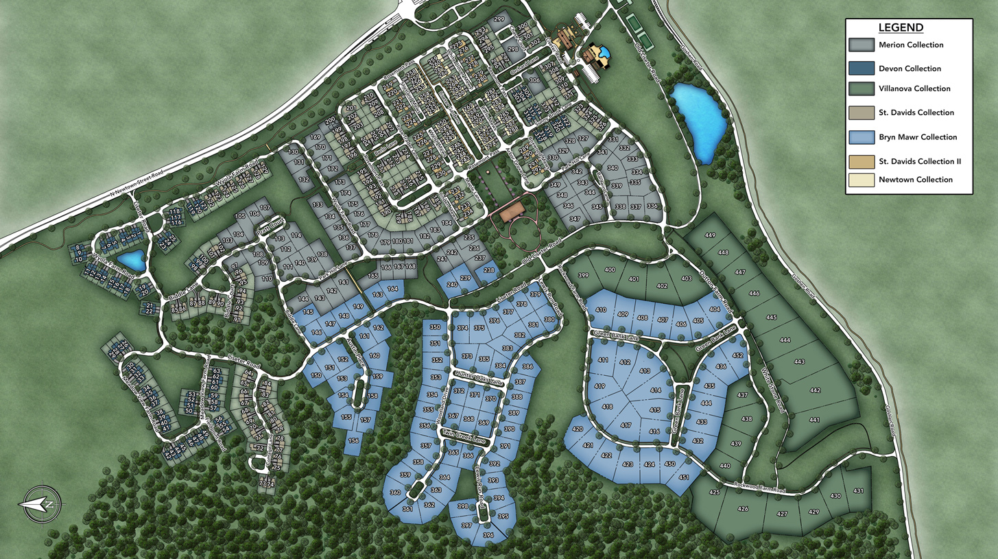 Newtown >> Newtown Square PA Carriage Homes for Sale   Liseter - The St. Davids Collection - Site Plan