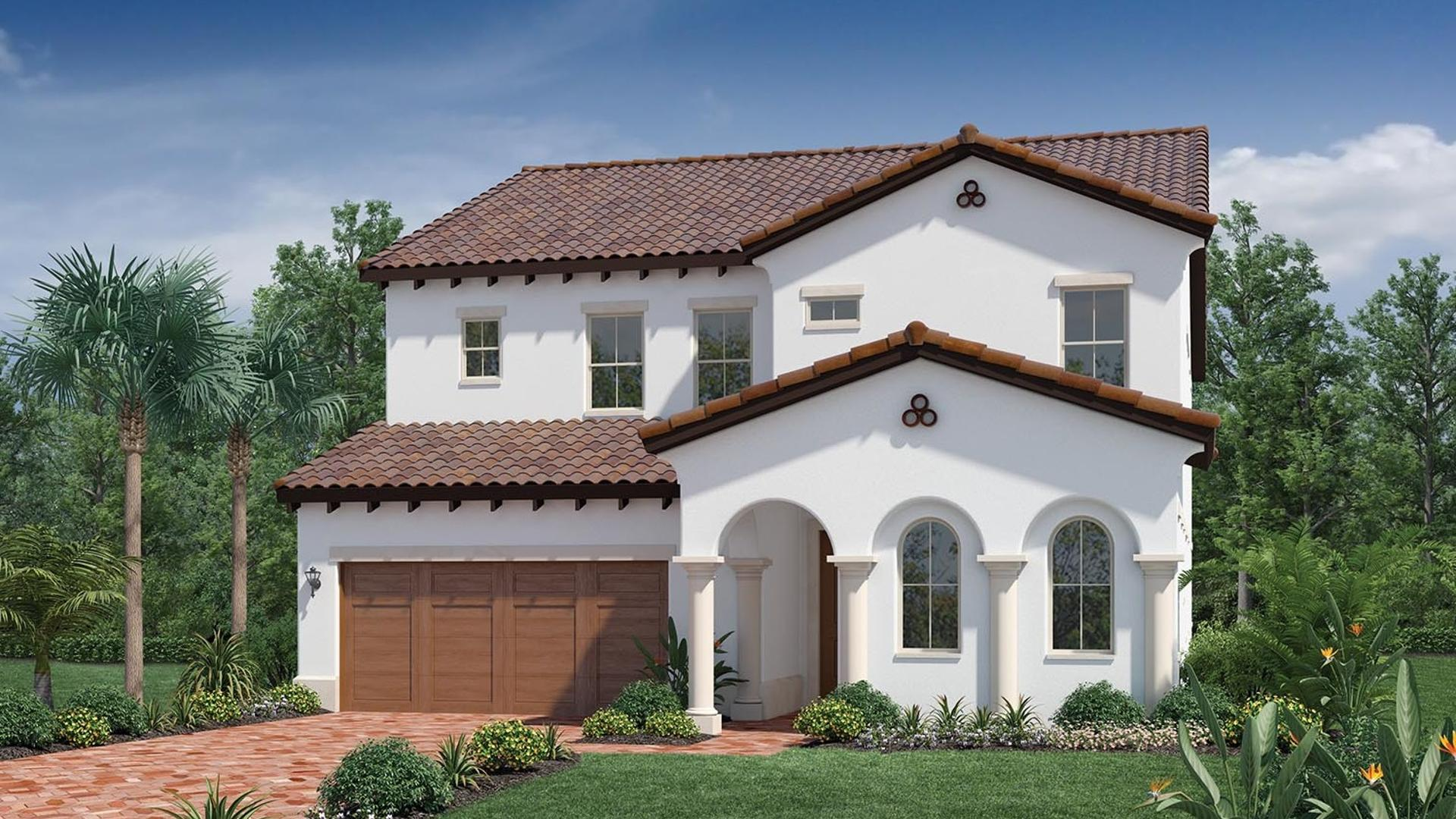 Spanish Colonial front elevation rendering