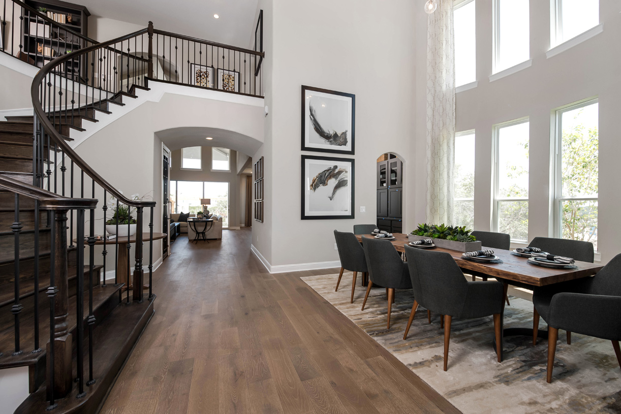 Welcoming Artisan foyer and dining room