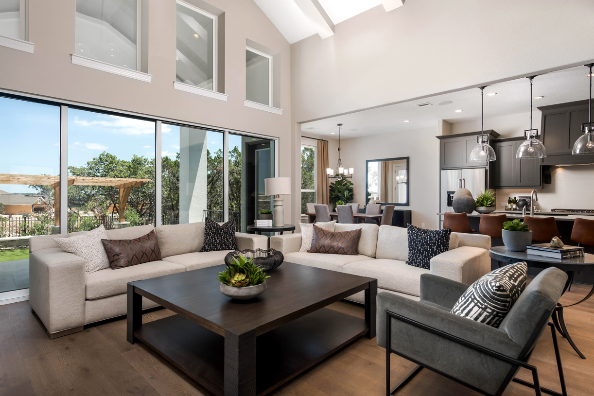 Open Artisan great room with views of the backyard