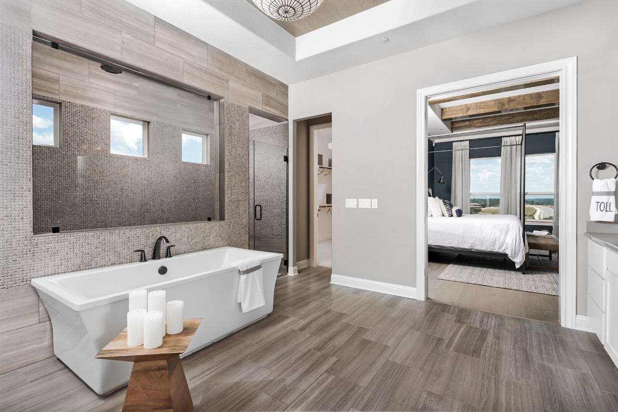 Spa-like primary bath offers a tranquil retreat