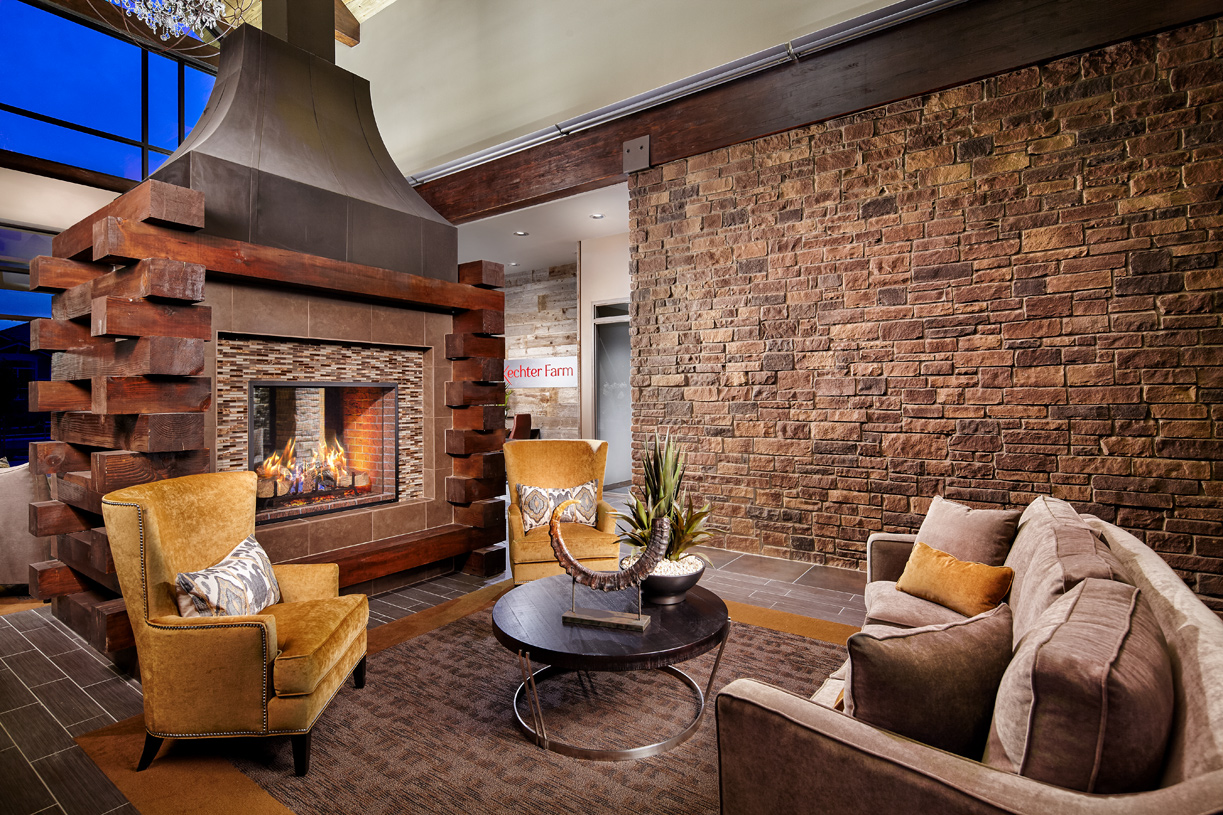 Enjoy the grand clubhouse fireplace