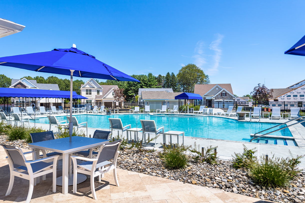 Sunny days can be spent poolside at the clubhouse
