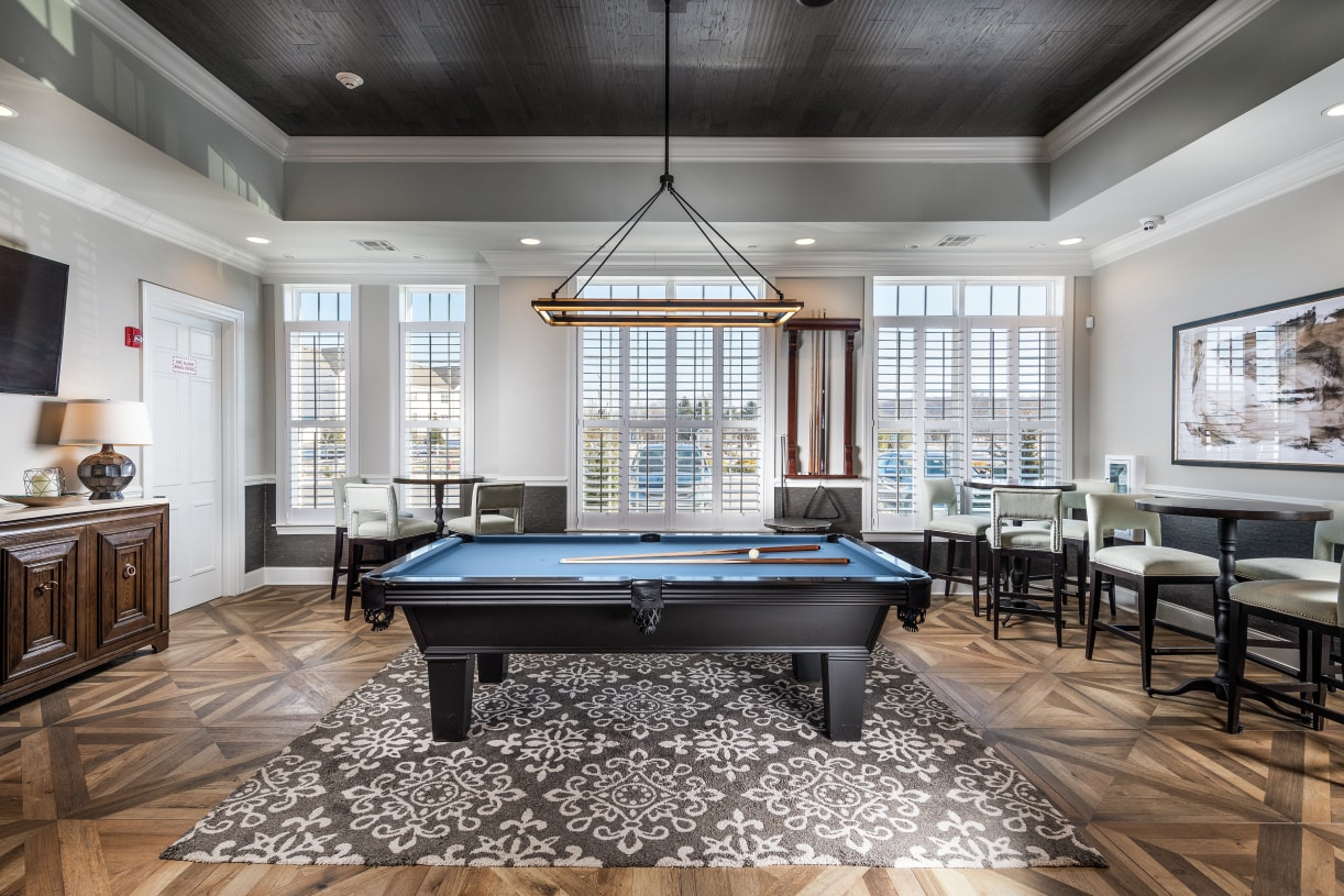 Meet your friends in the clubhouse for a billiards game