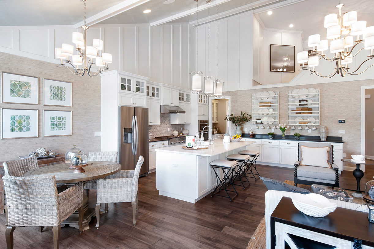 The open-concept kitchen and dining area provide the ideal space for entertaining