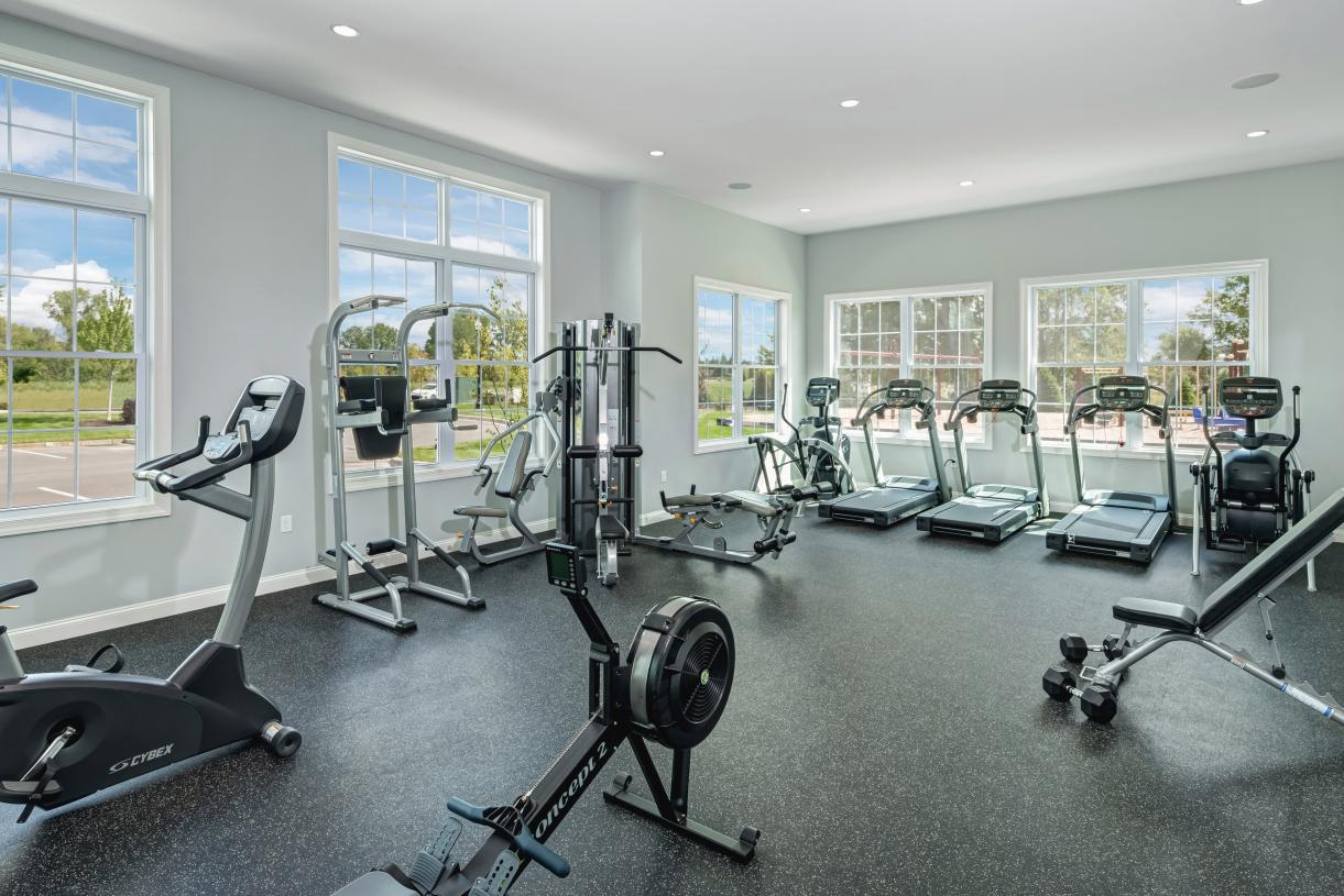 Well-appointed fitness room at the clubhouse
