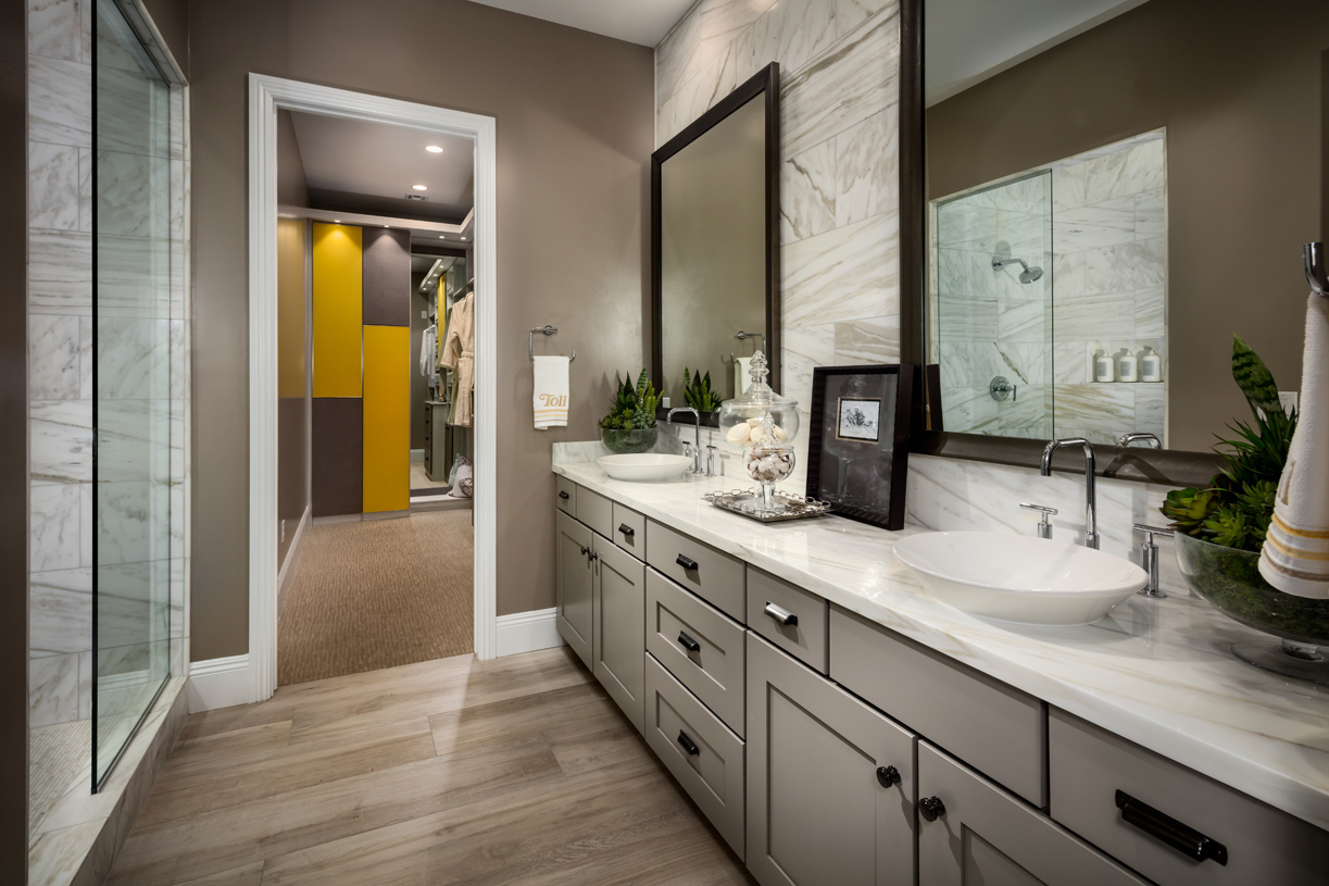 Luxe primary bathroom with large walk-in closet