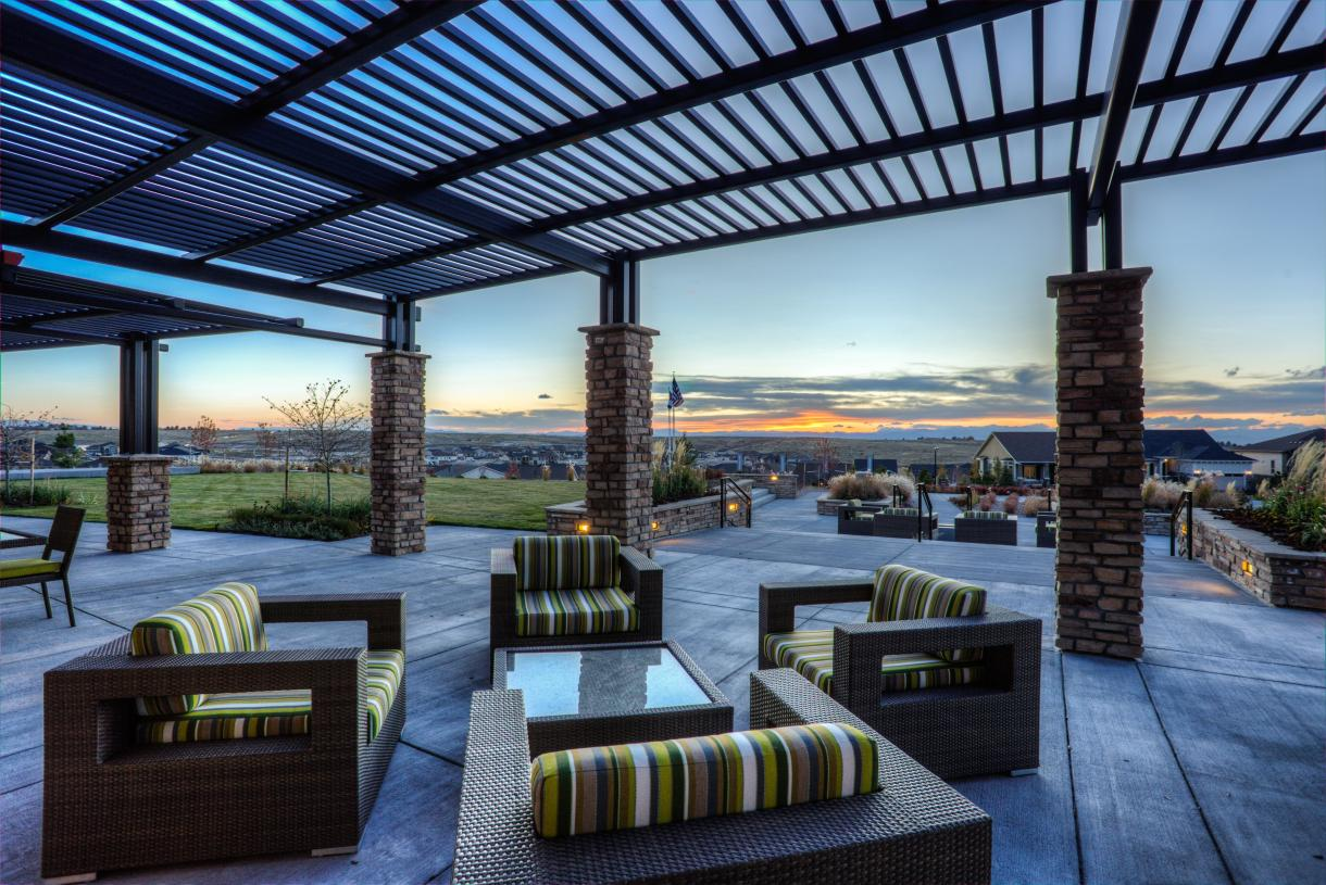 Enjoy the Hilltop Club patio and views