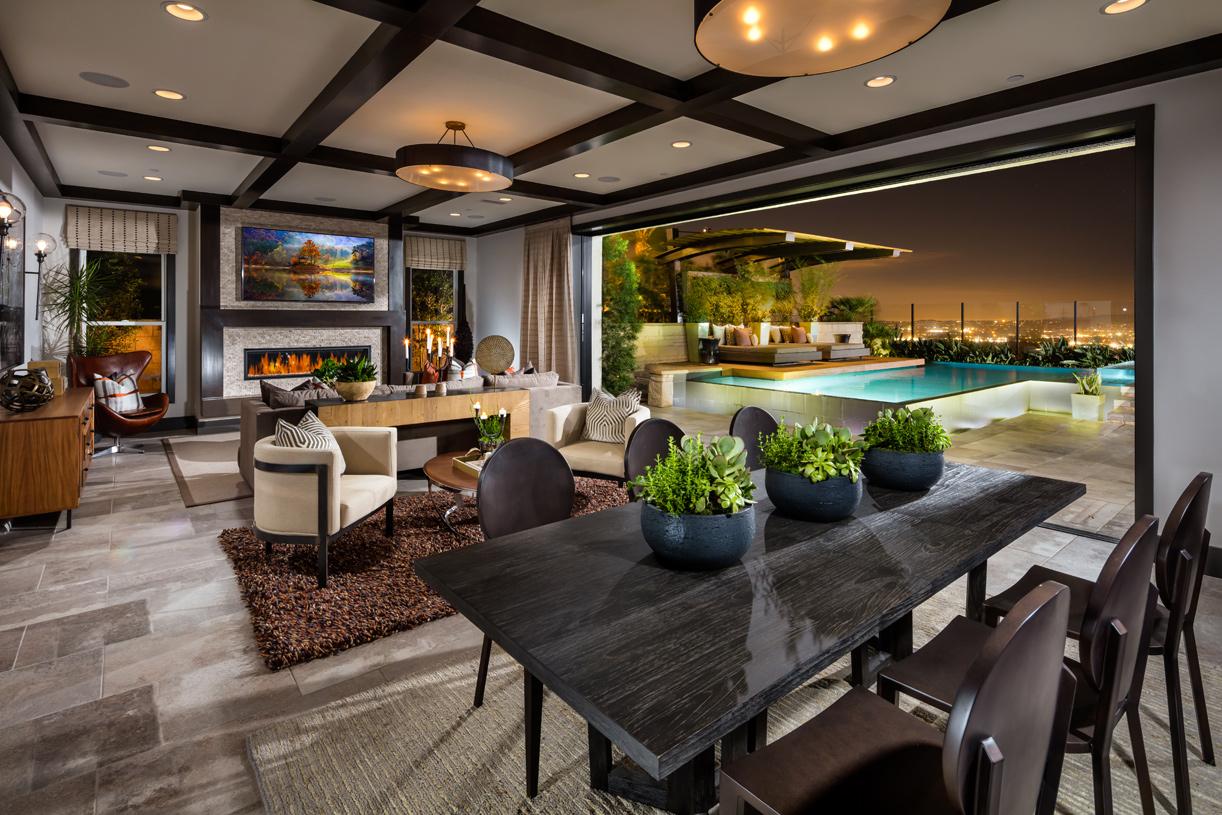 Cahill model great room, California room, and backyard