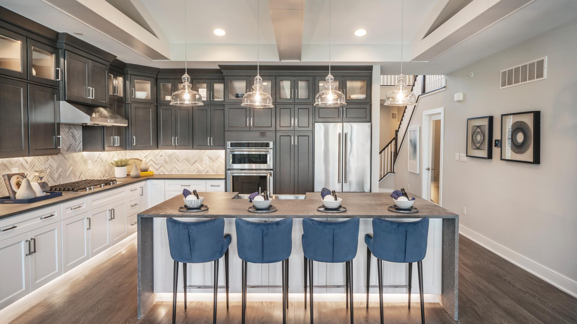 Spacious kitchens with large center islands