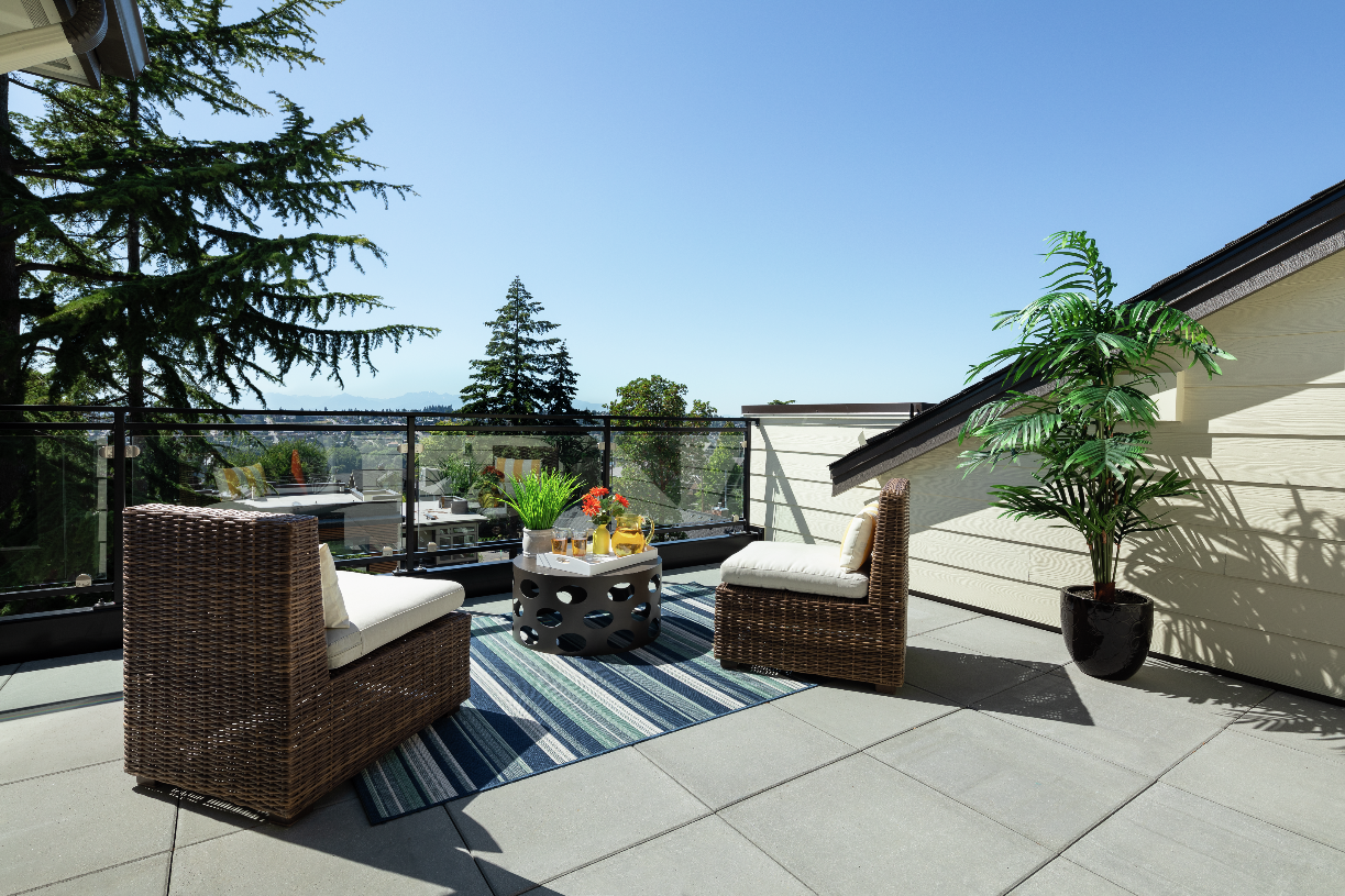 Final homes at McGraw Square all have rooftop decks with gorgeous mountain and Puget Sound views