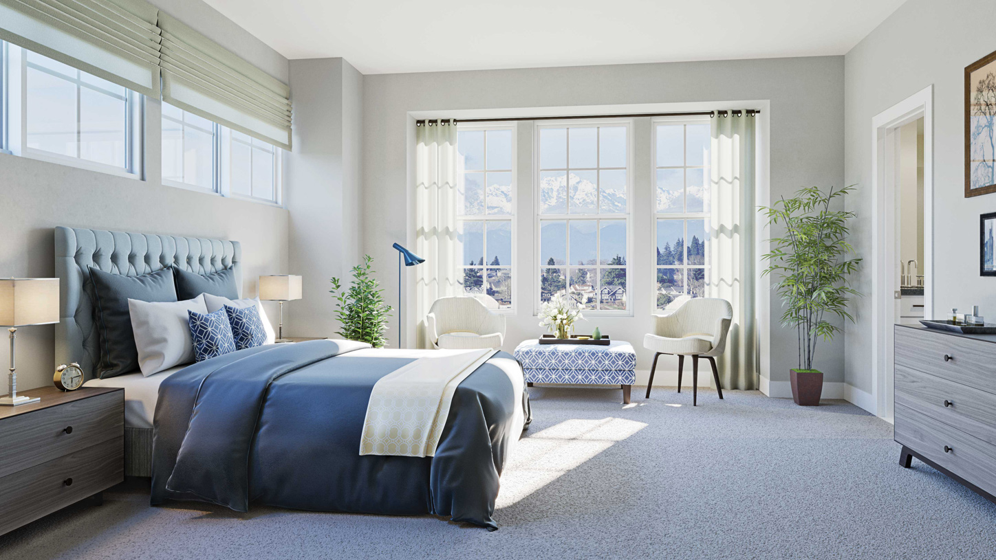 Expansive windows create light-filled primary bedroom suites for the perfect private retreat