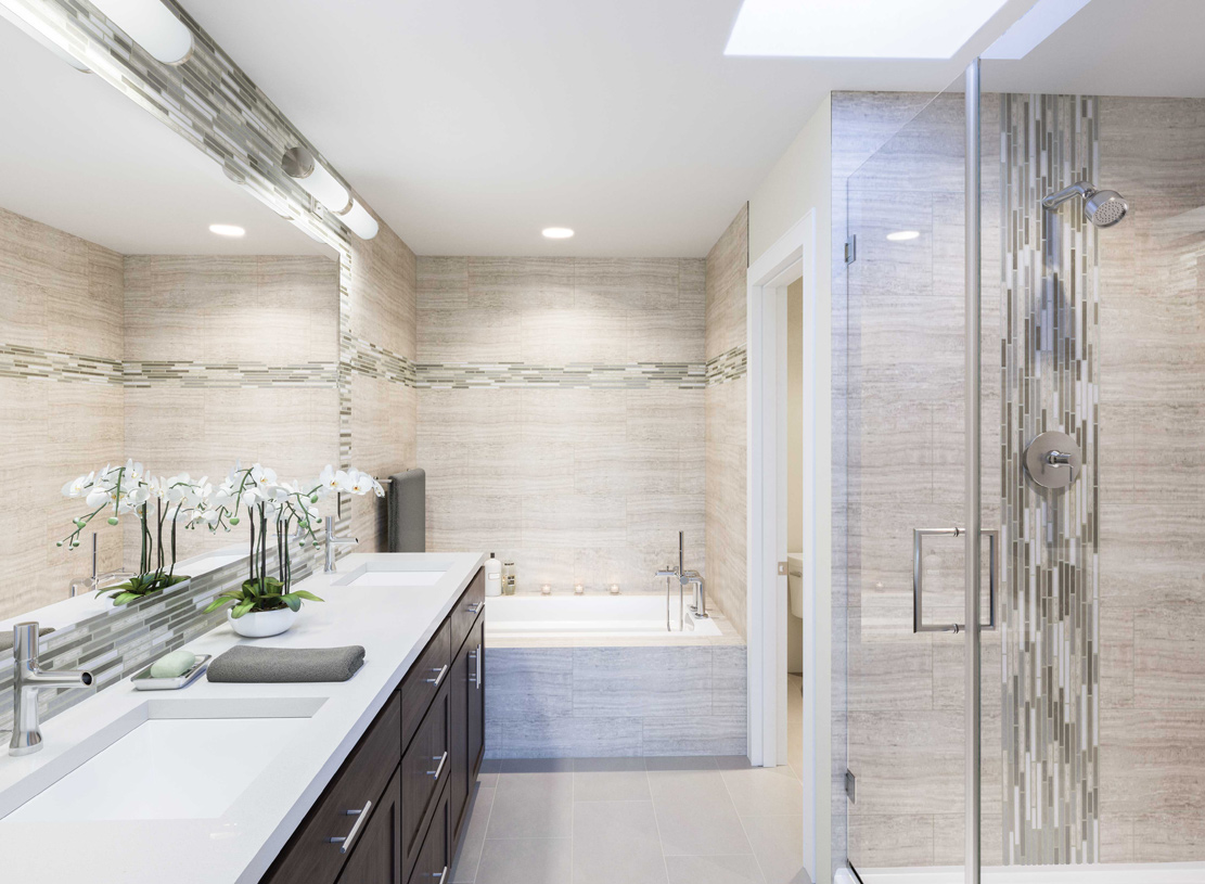 Sumptuous primary bathrooms boast dual vanities, spa showers and relaxing soaking tubs