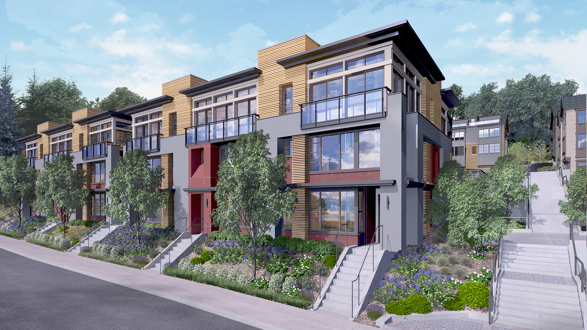 The street scene along 10th Avenue West will feature Northwest Contemporary architecture.