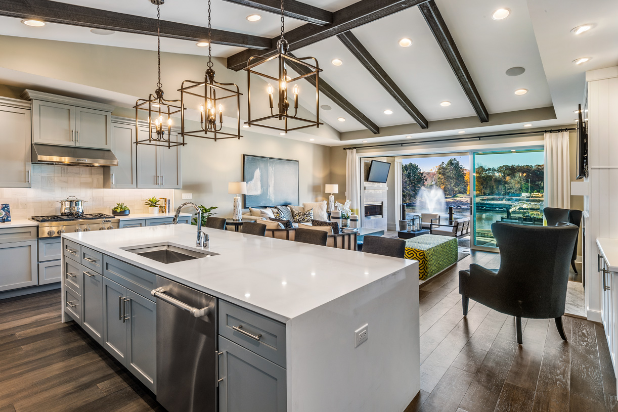 Kitchen with large center island