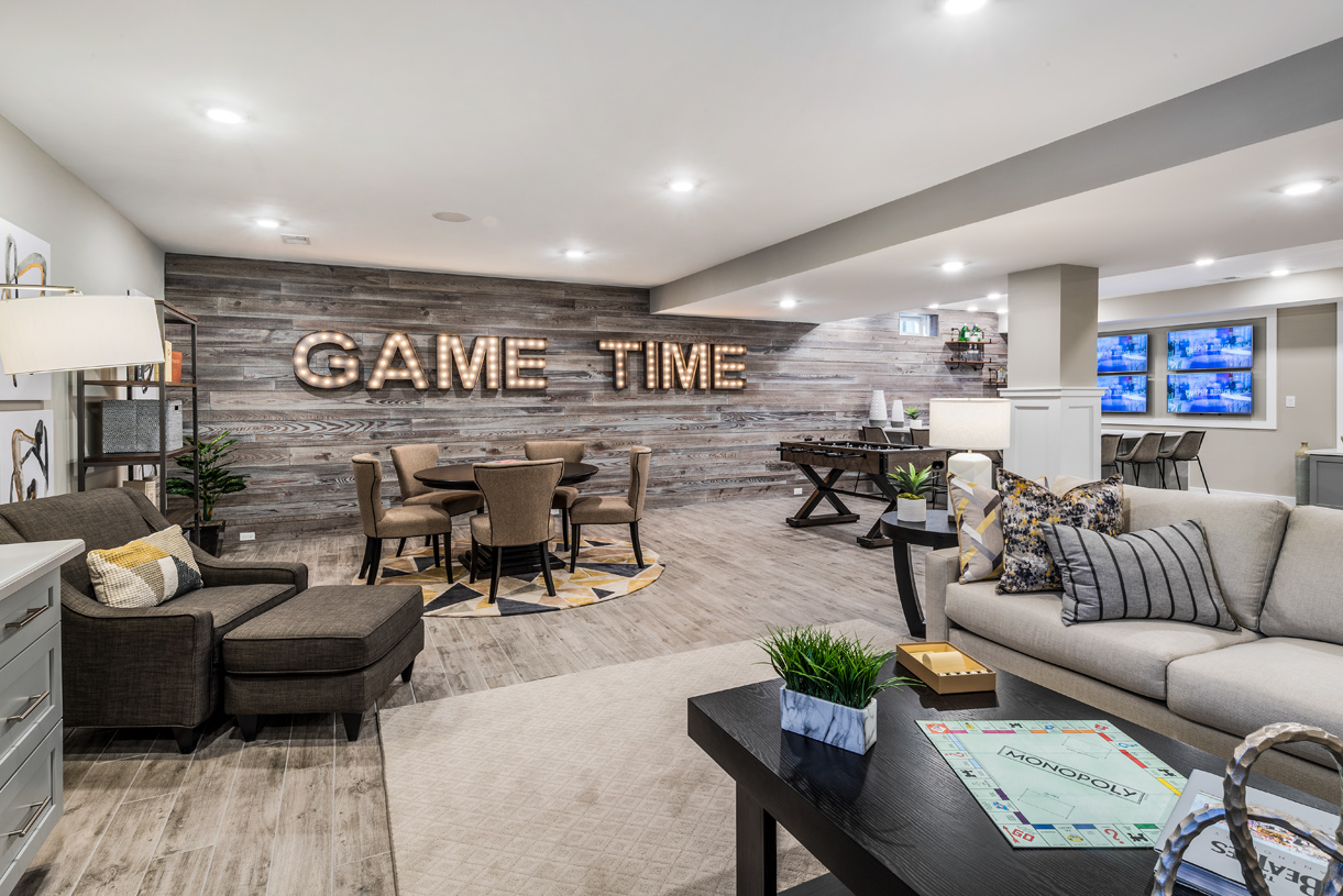 Finished basement with plenty of room for entertaining
