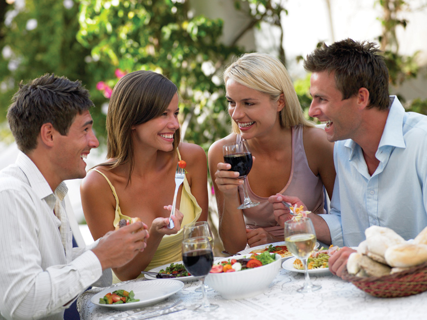 Enjoy a night out with friends! They're are many restaurants nearby to choose from.
