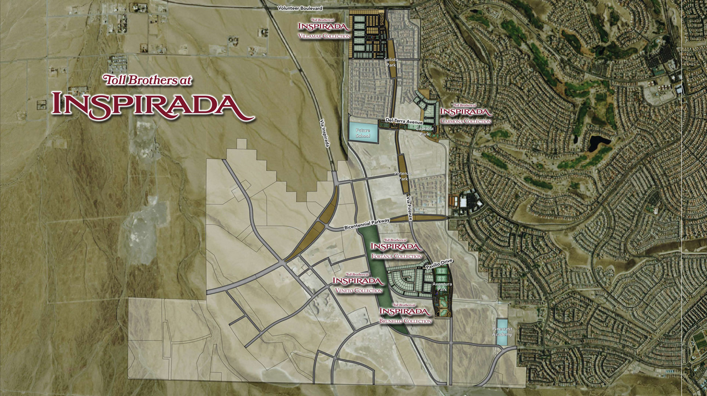 Toll Brothers at Inspirada Overall Site Plan. Henderson NV New Homes for Sale   Toll Brothers at Inspirada