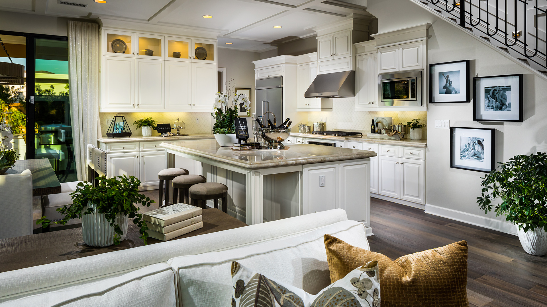 Gourmet kitchen with large center island.