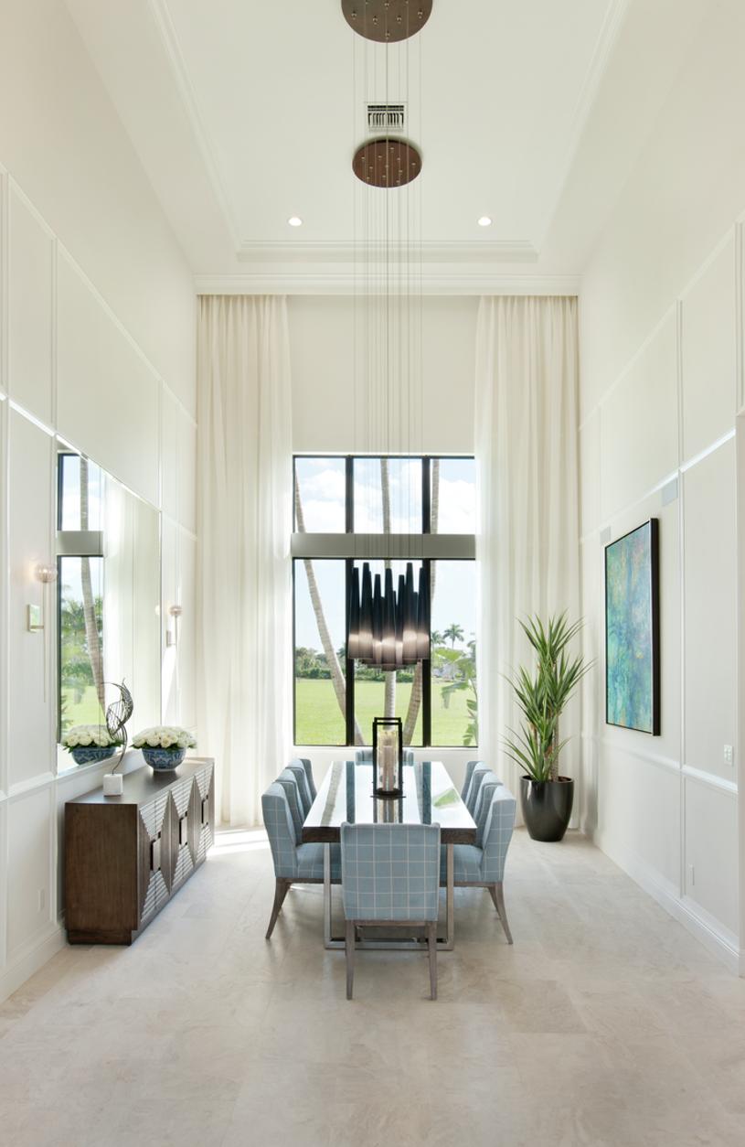 Dining room features custom trim