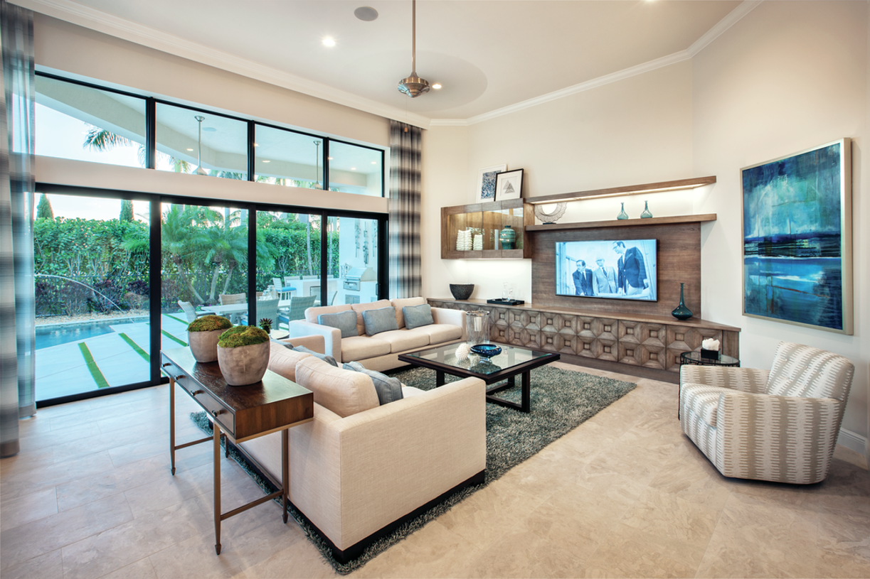 Spacious family room with custom built-in cabinetry