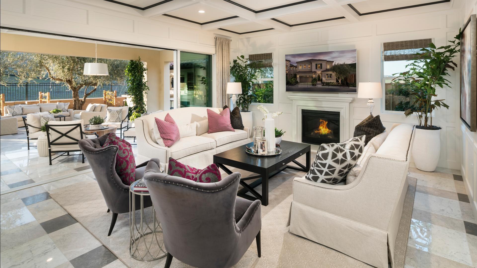 Open-concept great room with fireplace