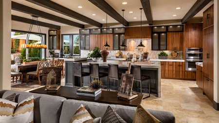 The Glen at Tassajara Hills offers luxurious home designs that feature glass stacking doors that seamlessly blend indoor and outdoor living areas into open airy spaces