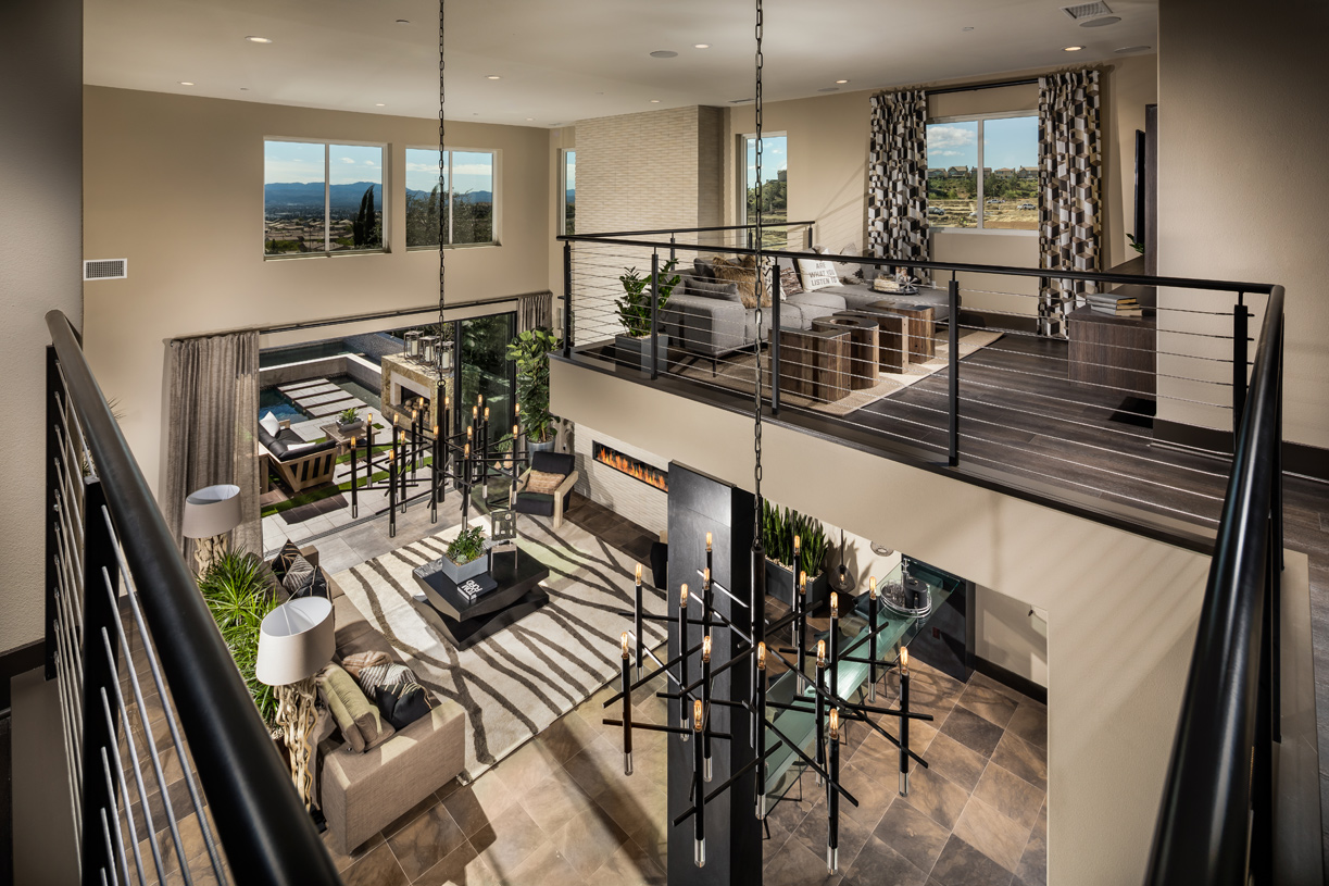 Great rooms featuring double ceiling heights