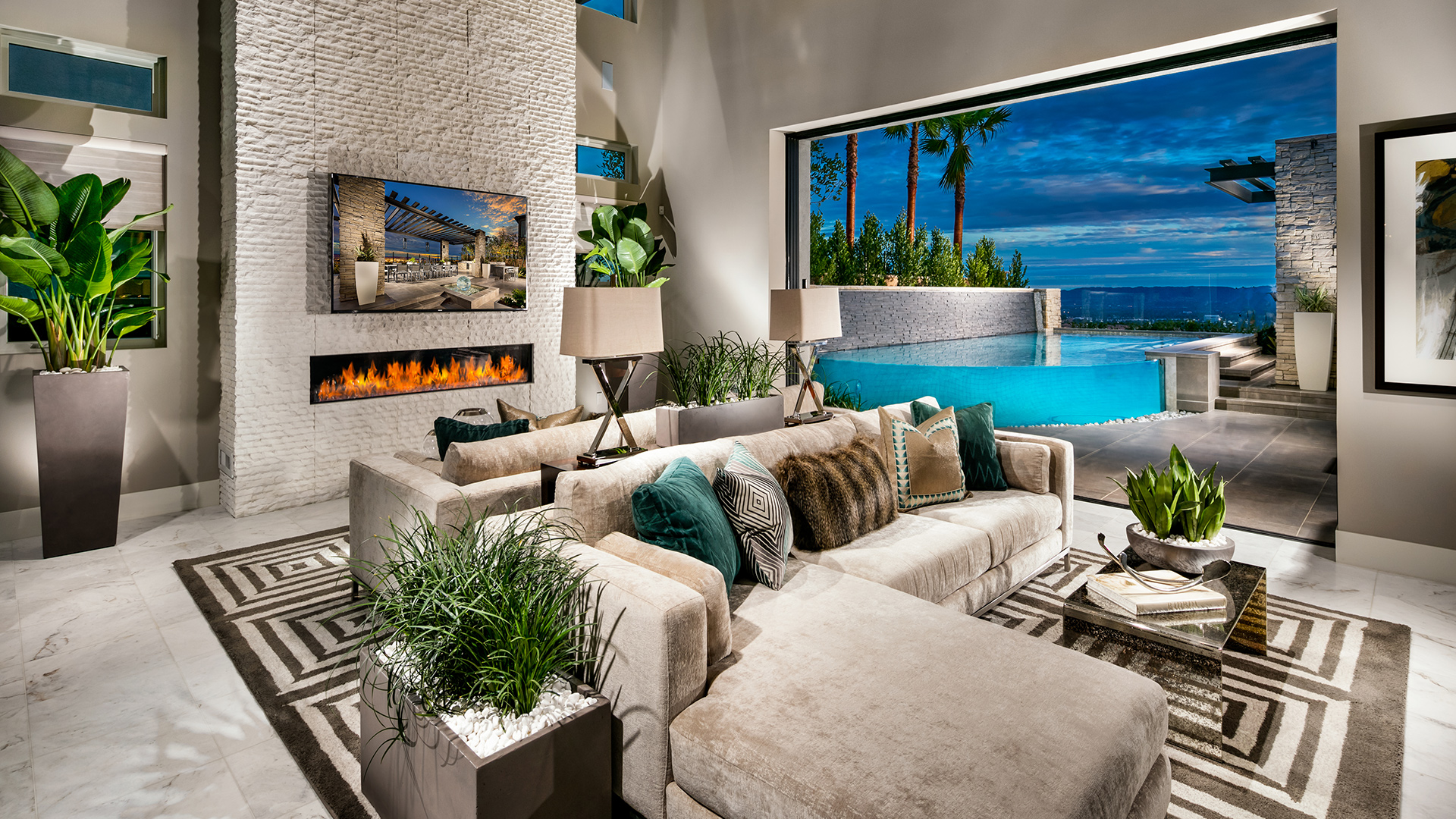 Grand great rooms with sliding glass wall opens to the California room perfect for enjoying indoor/outdoor living